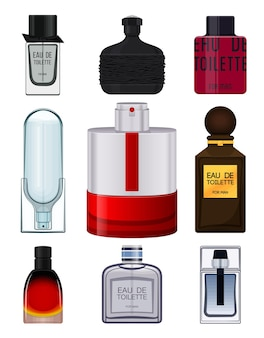 Realistische parfumfles op witte achtergrond instellen