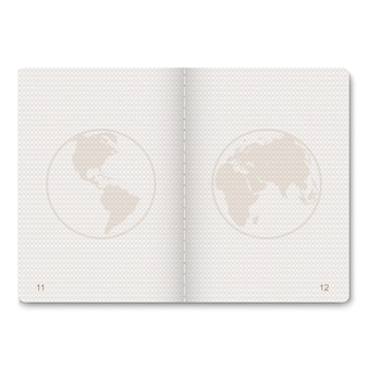 Realistische paspoort blanco pagina's voor postzegels. leeg paspoort met watermerk.