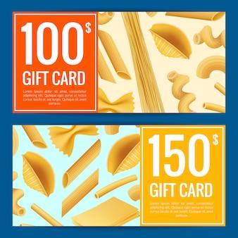 Realistische pasta soorten geschenk kaartsjabloon set