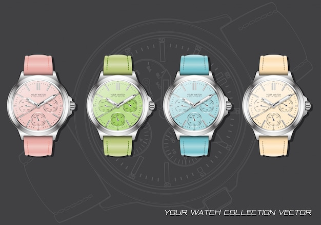 Realistische pastel chronograafcollectie met klokhorloge op donkergrijs.