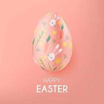 Realistische pastel zwart-wit pasen-illustratie met ei