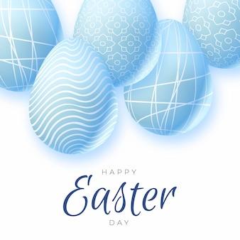Realistische pastel zwart-wit pasen-illustratie met eieren
