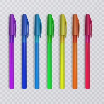 Realistische pennen met regenboogkleuren. illustratie.
