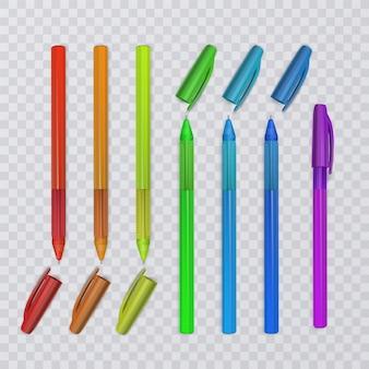 Realistische pennen met regenboogkleuren.