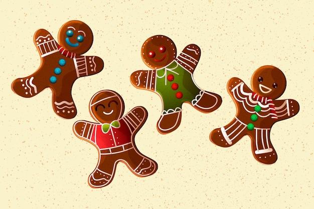 Realistische peperkoek man cookie-collectie