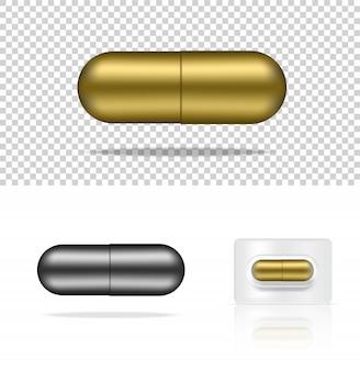 Realistische pil geneeskunde gouden en zilveren capsule deelvenster op witte medische illustratie tabletten en gezondheid