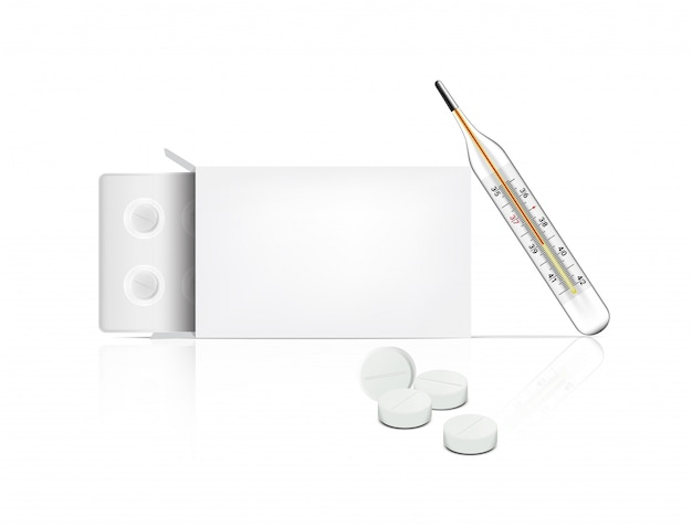 Realistische pilgeneeskunde op witte achtergrond met doosverpakking en thermometer voor koorts