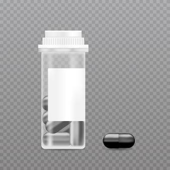 Realistische pillenfles. mockup voor verpakking van farmaceutische producten.