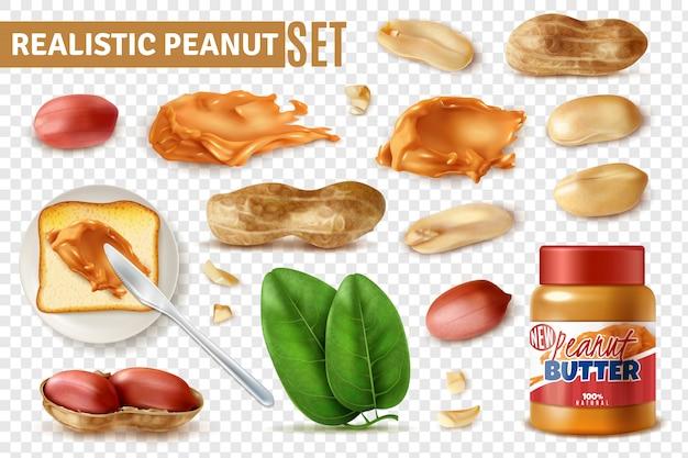 Realistische pinda op transparante set met geïsoleerde arachis bonen met shell en pot boter