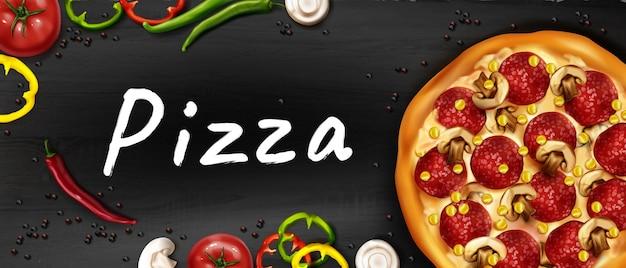 Realistische pizza-advertentiebanner