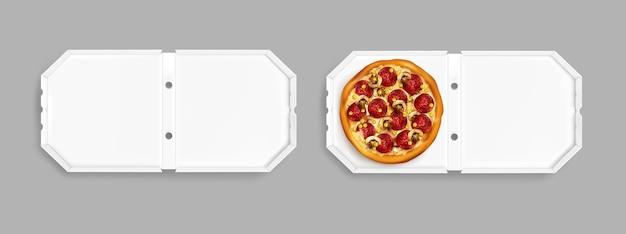 Realistische pizza bovenaanzicht Gratis Vector