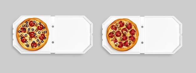Realistische pizza bovenaanzicht