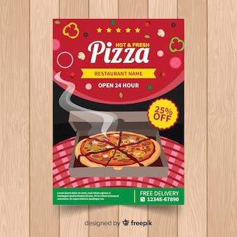 Realistische pizza restaurant flyer