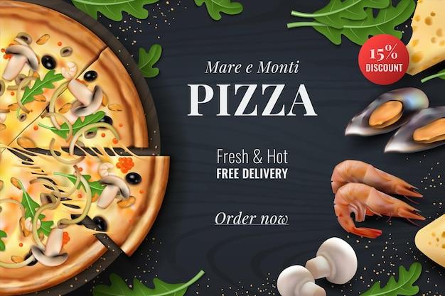Realistische pizzaachtergrond. menuposter met traditioneel italiaans eten met toppings voor restaurantbanner of reclame. vector 3d-promotievliegerontwerpen met realistische symbolen italiaanse snacks