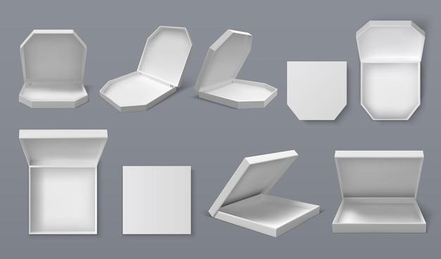 Realistische pizzadoos. wit kartonnen blanco voedselpakketmodel voor branding en advertentieontwerp, voedselbezorgservice. vector lege pizzadoos set geïsoleerde collectie op grijze achtergrond