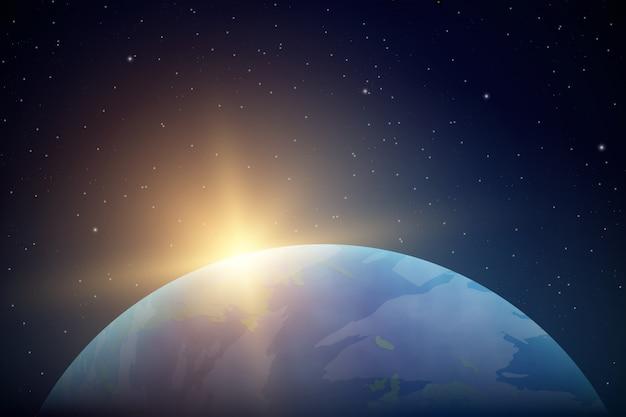 Realistische planeet aarde vanuit de ruimte