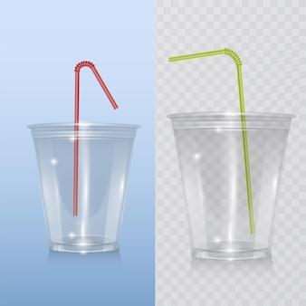 Realistische plastic beker voor milkshake en limonade en smoothie. Premium Vector