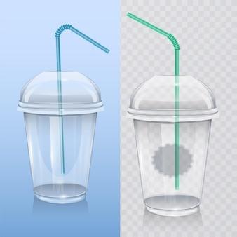Realistische plastic beker voor milkshake en smoothie.