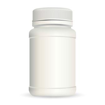 Realistische plastic fles voor geneeskunde die op achtergrond wordt geïsoleerd.