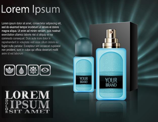 Realistische plastic parfumflesjes met pakketdoos