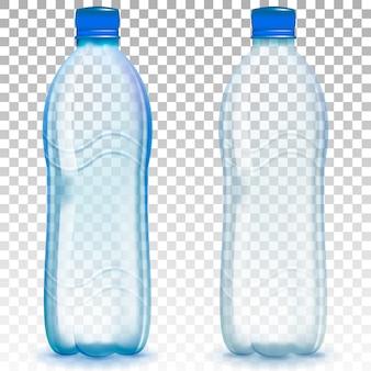 Realistische plastic waterfles.