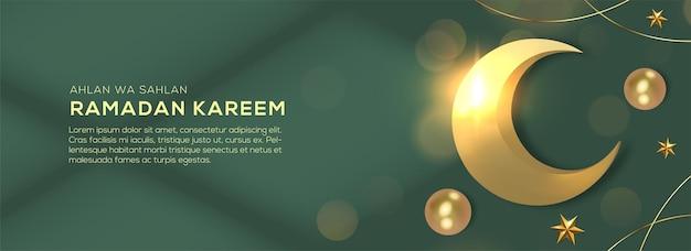 Realistische plat leggen ramadan kareem vakantie bannerontwerp met 3d-gouden wassende maan