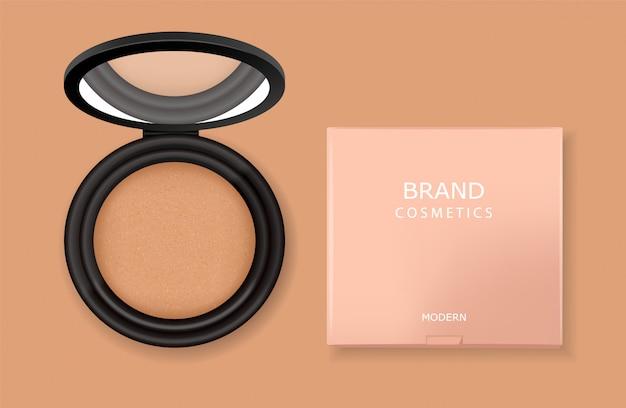 Realistische poederpakket en roze doos, zwart ontwerp, make-up product, geïsoleerde poeder cosmetica, illustratie