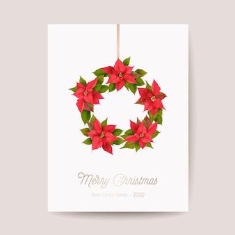 Realistische poinsettia 3d-bloemen winterkaart, merry christmas vector-groeten. uitnodiging voor het feestje van nieuwjaarsvakantie. sjabloon voor spandoek met bloemen, illustratiekader, brochure, omslag, bruiloftsbriefkaart