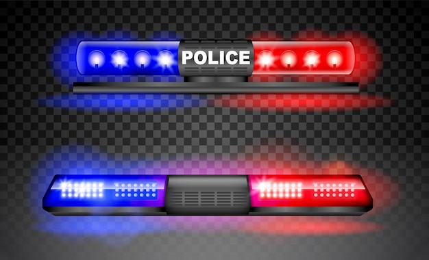 Realistische politie sirene lichtbaken flitser geïsoleerd noodlicht rood blauw sirene led flitser