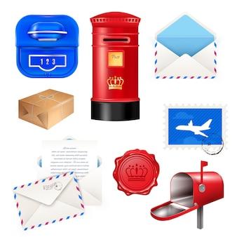 Realistische postbus brievenbus set met geïsoleerde verschillende pakketpost pakketten dozen en enveloppen