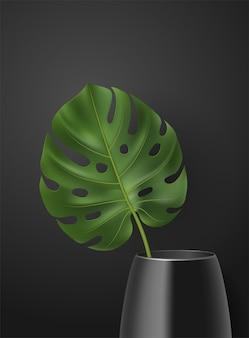 Realistische poster met groene tropische blad in vaas op donkere achtergrond. botanische illustratie met monstera voor interieur, woondecoratie, advertentie, behang, kaart, banner, web.