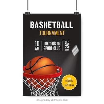 Realistische poster van basketbaltoernooi