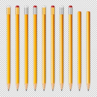 Realistische potloodpictogramreeks. ontwerpsjablonen.