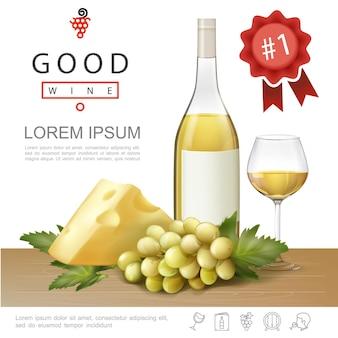 Realistische premium alcohol sjabloon met fles en glas vol witte wijn, kaas en tros druiven illustratie