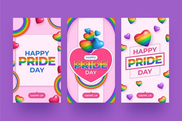 Realistische pride-dag instagram-verhalencollectie
