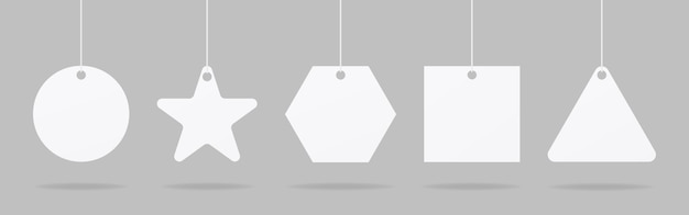 Realistische prijskaartjes of cadeau-tags. blanco papier prijs label mockup set. mockup vector geïsoleerd. sjabloonontwerp. realistisch