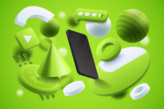 Realistische productadvertentiesjabloon met smartphone