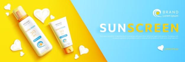 Realistische productpromo voor zonnebrandcrème