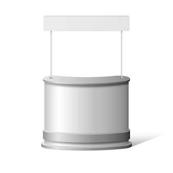 Realistische promotie teller tafel geïsoleerd op wit