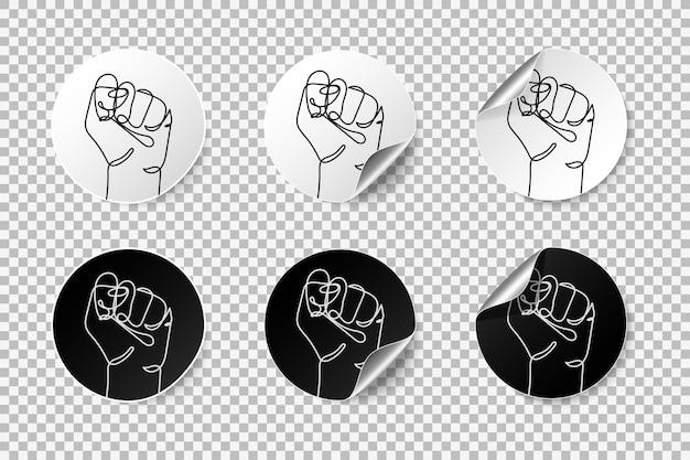 Realistische protest ronde stickers met gekrulde rand en schaduw sterke vuist opgewekt