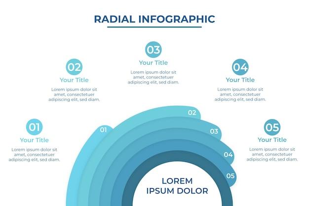 Realistische radiale infographic