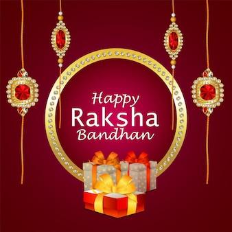 Realistische raksha bandhan-wenskaart met creatieve geschenken