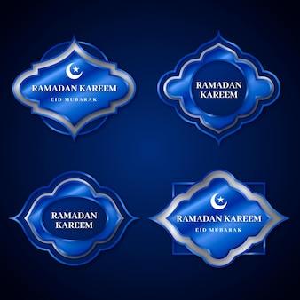 Realistische ramadan badge-collectie