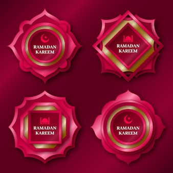 Realistische ramadan badge-collectie