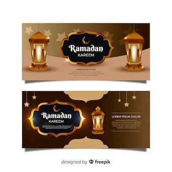 Realistische ramadan banners