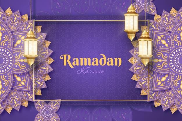 Realistische ramadan kareem achtergrond