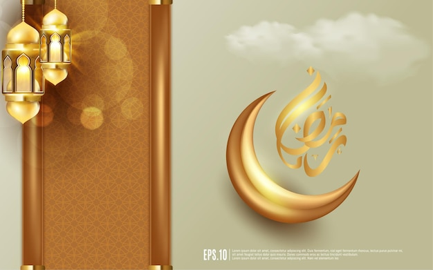 Realistische ramadan kareem met lantaarn, kalligrafie en wassende maan in sprankelende gouden kleur.