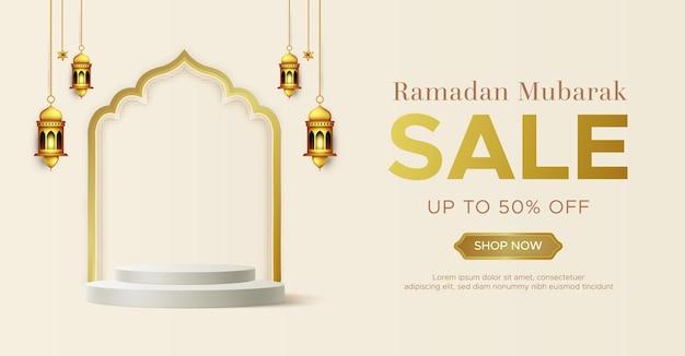 Realistische ramadan kareem verkoop sjabloon voor spandoek met 3d podium