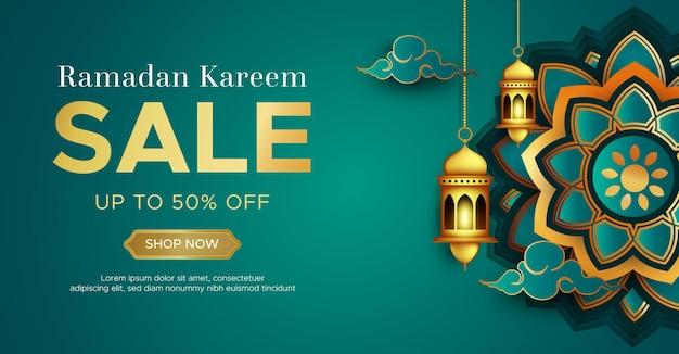 Realistische ramadan kareem verkoop sjabloon voor spandoek