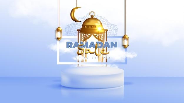Realistische ramadan kareem-verkoopbanner met 3d-podium en kortingsframe